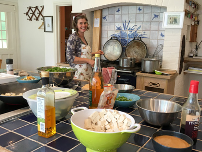 Polly cooking delicious vegetarian food